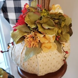 Hand Crafted Accents - New Handcrafted Farmhouse Fabric Covered Pumpkin